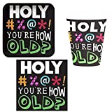 Holy Bleep 30 Tableware Pack for 16: Includes Napkins, Dinner Plates, and Cups