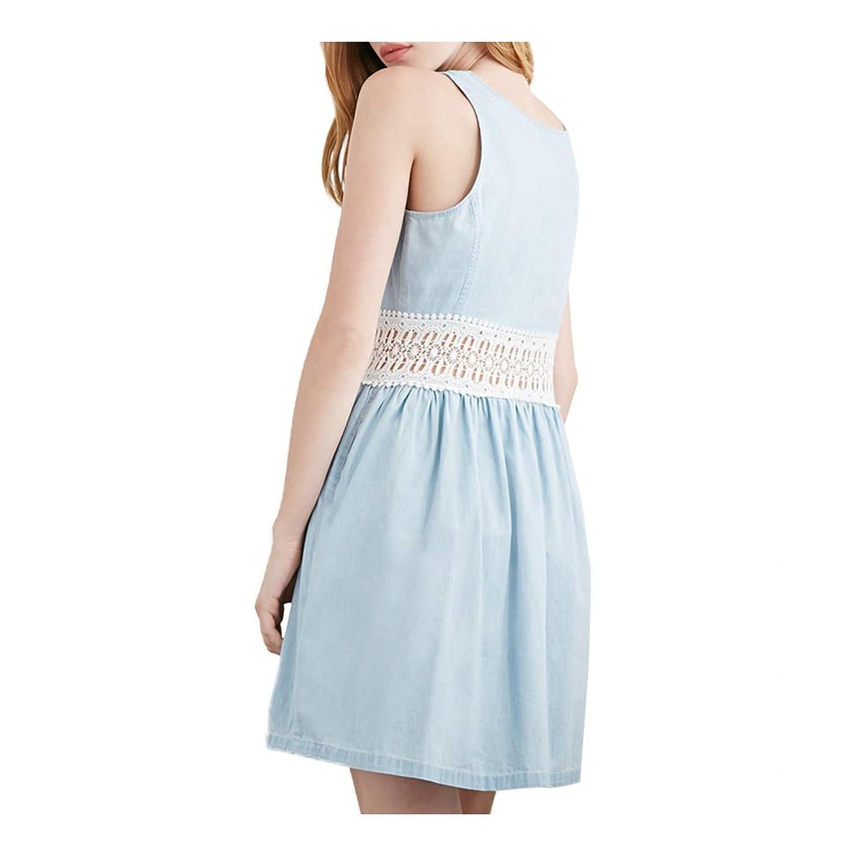 2015 Summer Denim Patchwork Beach Casual Dress for Women