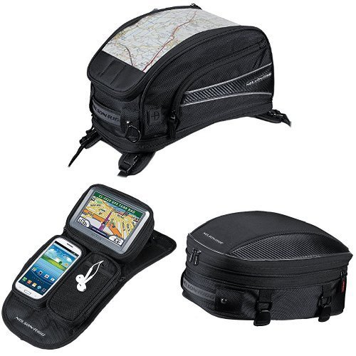 Nelson-Rigg CL-2015-ST Black Strap Mount Journey Sport Tank Bag, CL-GPS-MG Black Magnetic Mount Journey GPS Mate, and CL-1060-S Black Sport Tail/Seat Pack Bundle