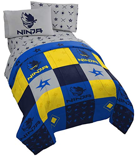 Jay Franco Ninja Patchwork 4 Piece Twin Bed Set – Includes Reversible Comforter & Sheet Set – Super Soft Fade Resistant Microfiber – (Official Ninja Product)