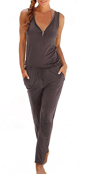 Battercake Tuta Donna Elegante Jumpsuit Estiva Cerimonia Cocktail Overall  Tutine Fashion Senza Maniche Backless V Scollo con Zip Moda Lunghi  Monopezzi ... 2c165900a1e