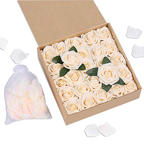 Bunny Lamb Artificial Roses Handcrafted Wedding Flowers for DIY Wedding Centerpieces Bridal Bouquet Flower Arrangement and Church Hotel Restaurant Home Decorations - 50pcs (Champagne Cream)]()