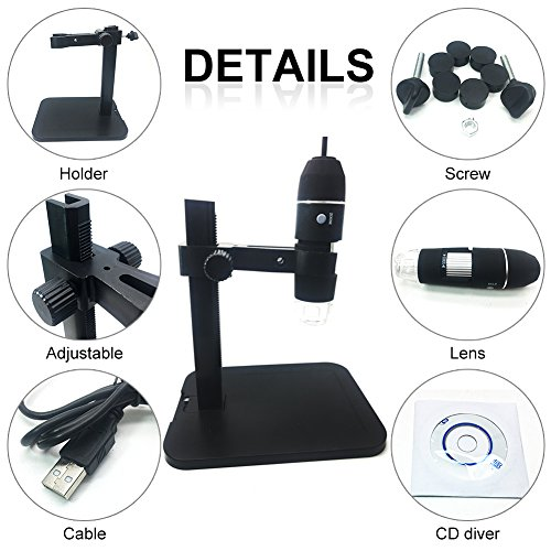 Digital Microscope, soled Portable USB Digital Microscope Mini Microscope Camera, 8 LED 2MP USB 3D Digital Zoom Microscope Endoscope Magnifier PC Video Camera(1000x)