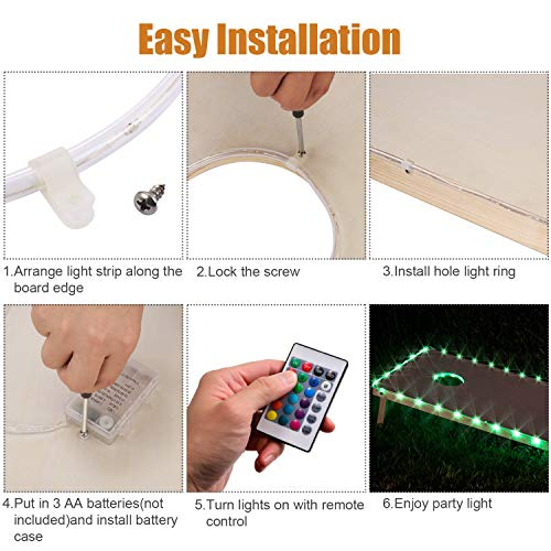LED Cornhole Lights for Board Edge and Hole Ring Remote Control 16 Color Change
