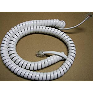Lot of 2 Bright White 12' Ft Handset Cords for Vtech Corded Phone (2-Pack) by DIY-BizPhones