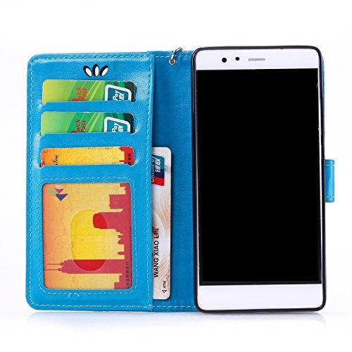 Wkae Case Cover Caso P9 Huawei Cubrir con la cuerda de seguridad de la correa de ranuras para tarjetas de caja, caso de la mariposa en relieve superior de la PU caja de la caja del cuero de la carpeta Blue