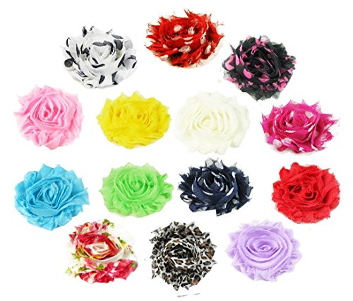 HipGirl 14 Colors Baby Girl Women Shabby Chiffon Flowers Lined Hair Bows Clips for Teens Kids Babies Toddlers Adults-Small 2