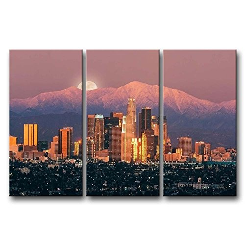 (So Crazy Art 3 Pieces Wall Art Painting Los Angeles With Mountain In Sunset Prints On Canvas The Picture City Pictures Oil For Home Modern Decoration Print Decor For)