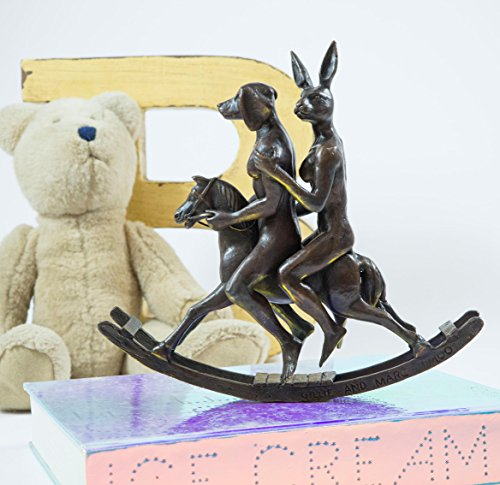 Original Limited Signed - Gillie and Marc Bronze Sculpture Limited Edition Contemporary Art. Signed by The Artists. They Rocked The House Down Rabbit and Dog Rocking Horse Adventure