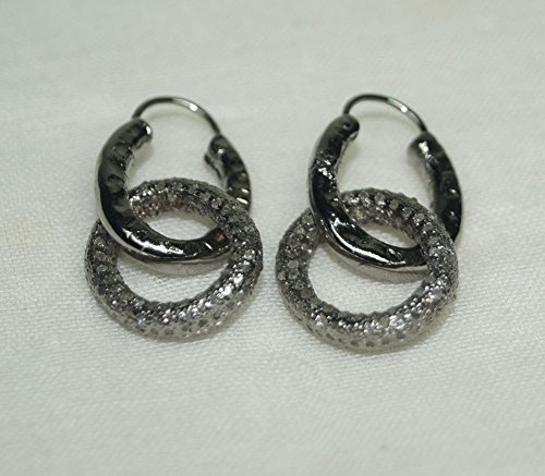 Estate Style 3.35ctw Pave Diamond 925 Sterling Silver Bali Earrings Bali Style Diamond Earring