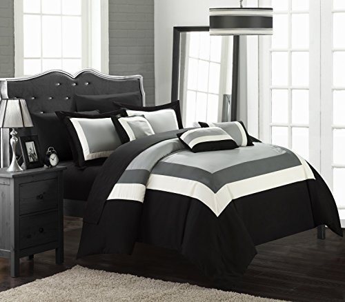 Black White Contemporary Bedding - Chic Home Duke 10 Piece Comforter Set Complete Bed in a Bag Pieced Color Block Patterned Bedding with Sheet Set and Decorative Pillows Shams Included, King Black