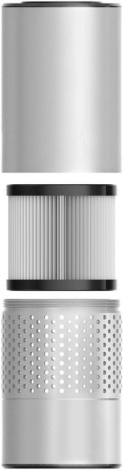 Plata eliminar el polvo de fumar polen y malos olores Control de gestos HEPA purificador de aire para los enfermos de alergia perfecto para el escritorio de oficina de coche y dormitorio