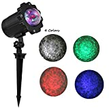 GreenClick Updated Motor Sparkling LED Projector Lights Rotating Laser Projector Light Moving Wave Spotlight Lamp Landscape Spotlight Stake Lamp,Suitable for Patio Party Christmas((Water Wave)