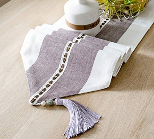 ROGEWIN Table Runner Polyester Traditional Artwork Tassel for Dinner Parties Summer BBQ Outdoor Picnics Home Decoration]()