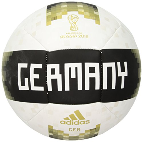 adidas World Cup Soccer Germany Adult Unisex Official Licensed Product Germany Ball, 5, White/Bright Yellow/Green