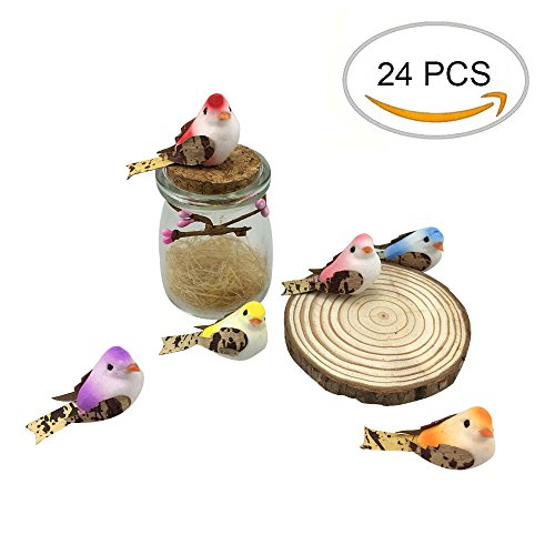 Artificial Small Fake Decorative Foam Birds for Crafts Garden, 24PCS by (Ornament Foam Craft)