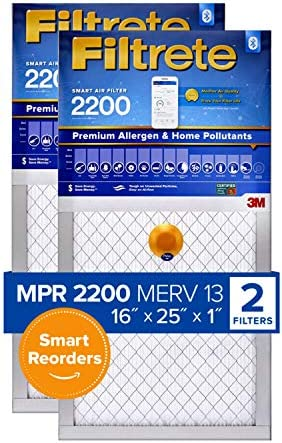 Filtrete 16x25x1, Smart Replenishable AC Furnace Air Filter, MPR 2200, Premium Allergen & Home Pollutants, 2-Pack (precise dimensions 15.72 x 24.72 x 1.1)