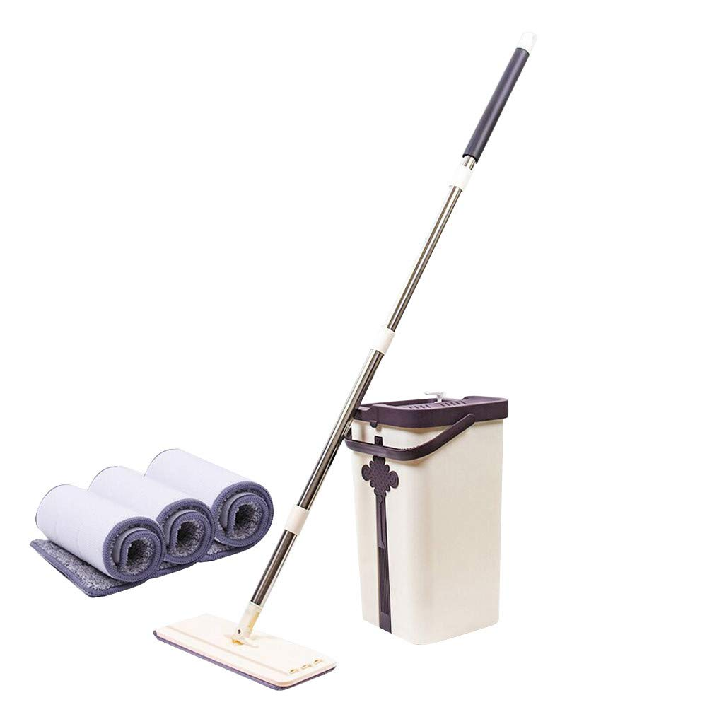 Tpingfe Hand-Free Squeegee Mop and Bucket Mop Pads Easy Self Cleaning Flat Mop and Buckets Set Handwash Free Wet and Dry Use on Floor (B)
