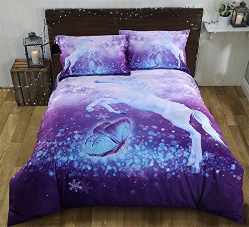 UniTendo 3D Unicorn and Butterfly Watercolor Printed Soft 50% Cotton 50% Tencel 800 Threads 5-Piece Comforter Sets Reversible Duvet Cover Set, Comforter Include. (King, Unicorn-1)