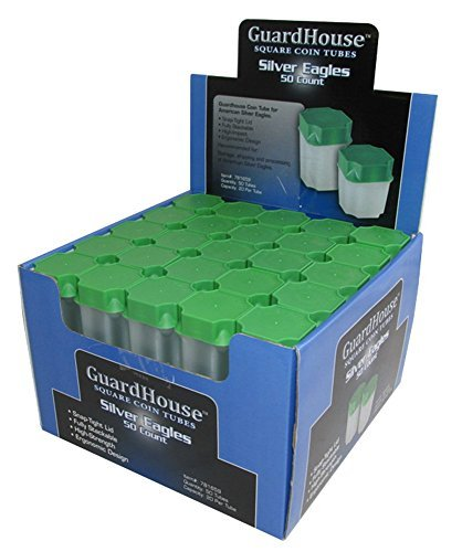 Guardhouse 50 - American Silver Eagle Tubes - New Translucent Design Holds 20 Coins and Fits Inside a US Mint Green Monster Box