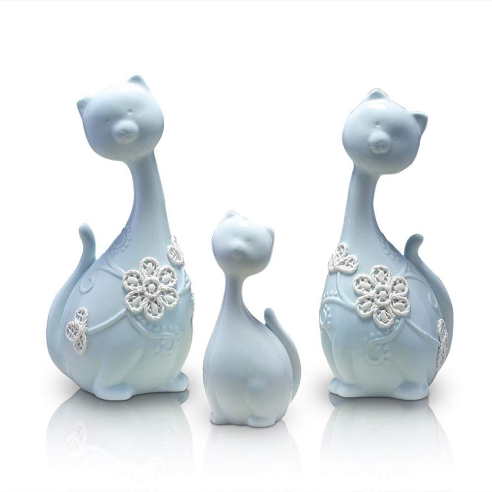 陶器製装飾品、リビングルームのテレビキャビネット、家の装飾品、猫、スリーピースの装飾品、ピンク、スカイブルー (Color : Sky blue) B07SPW7635 Sky blue
