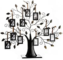Klikel Family Tree Picture Frame Stand with 6 Hanging Photo Picture Frames - Medium Metal Tree 12 X 11-6 Ornamental 2x3...