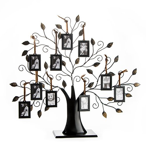 Klikel Family Tree Picture Frame Display with 10 Hanging Picture Photo Frames | Large 20 x 18 Metal Tree | 10 Ornamental 2x3 Frames