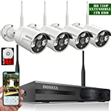 【2018 update】OOSSXX 8CH 1080P HD Wireless Security Camera System,4 pcs 720P 1.0 Megapixel Wireless Weatherproof Bullet IP Cameras,Plug and Play,70FT Night Vision,P2P,App, HDMI Cord&1TB HDD Pre-install