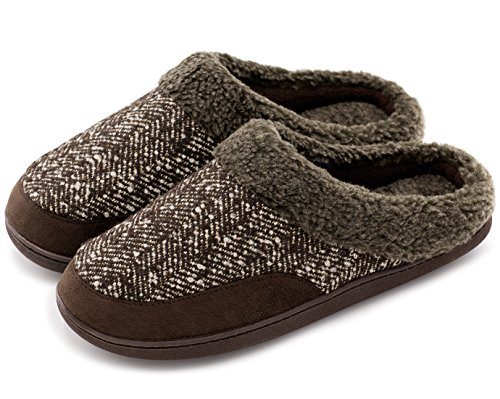 House Outdoor Spliced Indoor Brown HomeIdeas Breathable Men's Woolen Imitation Shoes Fur Fabric Slippers YaWwSRqp