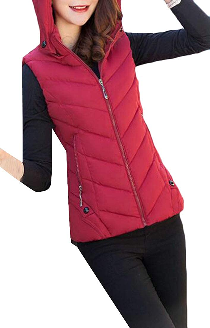 Red Wofupowga Women Winter Down Coat Outerwear Hoodie Quilted Pure color Vest