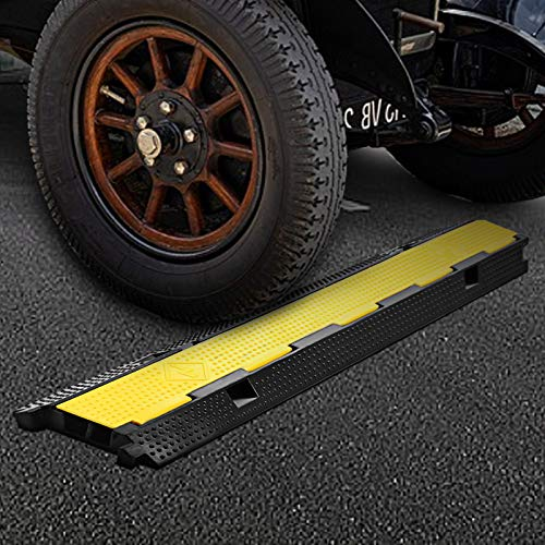 BestEquip 3 Pack Extreme Rubber Cable Protectors 2 Channel Cable Protector Ramp 11000lbs Capacity Rubber Speed Bump Rubber Traffic Speed Bumps Channel Cable Protector