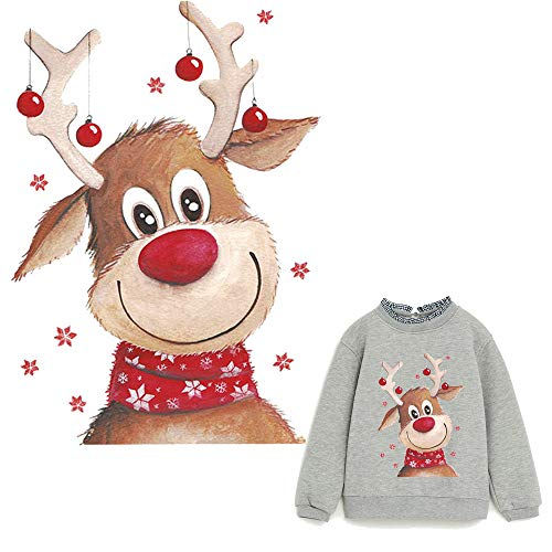 Deer Iron On Patches Elk Heat Transfer Stickers New Design with Christmas Animals Washable Cute Decoration for T-Shirt,Sweatshirt (Christmas Iron On Transfers For T Shirts)