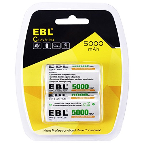 EBL Rechargeable C Size Batteries 5000mAh Ni-MH Deep Cycle Cell 2 Pack, Blister Package