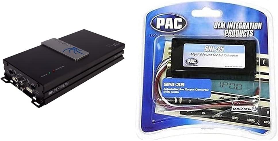 Soundstream PN4.520D 520-Watt 4-Channel Picasso Nano Class-D Amplifier & PAC SNI-35 Variable LOC Line Out Converter