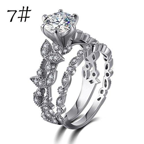 s, Unique Leaf Design For Women Jewelry Crystal Rhinestone Wedding Engagement Ring Set (Sliver, 7) ()