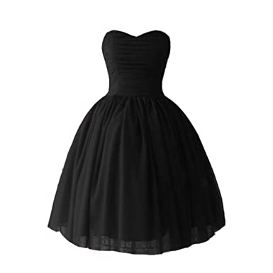 Kivary Tulle Sweetheart Ball Gown Corset Short Bow Prom Homecoming Cocktail Dresses Black US2