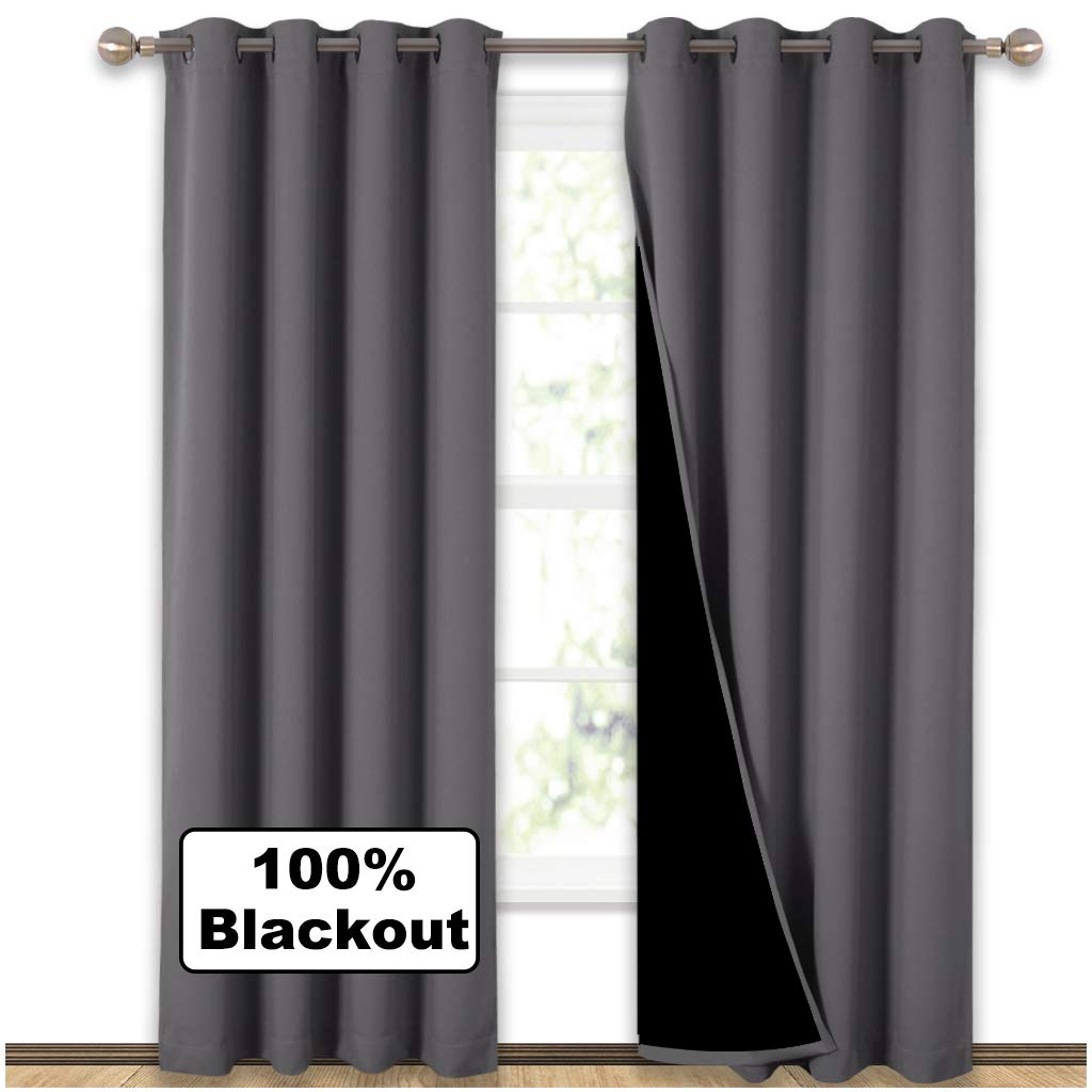 NICETOWN Grey Full Shade Curtain Panels, Pair of Energy Smart & Noise Blocking Out Blackout Drapes for Dining Room Window, Thermal Insulated Guest Room Lined Window Dressing(Gray, 52 x 84 inch)