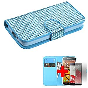 Kyocera Hydro Icon C6730 - One Piece Flip/Fold-Over Wallet ID holder Case Cover, Blue Gem Spot Design + SCREEN PROTECTOR