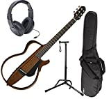 Yamaha SLG200N Nylon String Silent Guitar in Natural With Ultra 2445BK Basic Guitar Stand And Samson SR350 Open-Ear Headphones