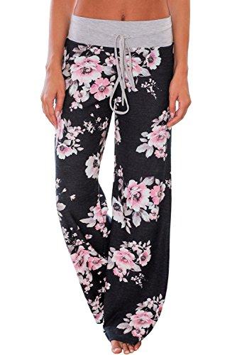 Flared Leg Terry Pant - QUEENIE VISCONTI Women Casual Drawstring Boho Floral Print Terry Wide Leg Palazzo Pants Lounge Black M