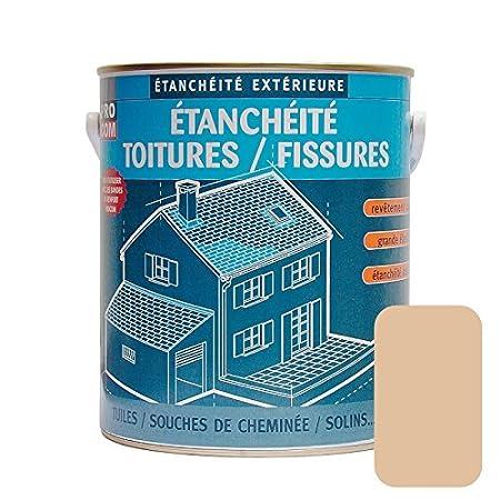 Peinture d'étanchéité pour toiture, réparation tuiles, fissures, anti-fuites, anti-mousse, décore et protège, plusieurs coloris 2.5 litres Terre cuite réparation tuiles décore et protège PROCOM