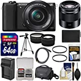 Sony Alpha A5100 Wi-Fi Digital Camera & 16-50mm (Black) with 50mm f/1.8 Lens + 64GB Card + Case + Battery & Charger + Tripod + Tele/Wide Lens Kit