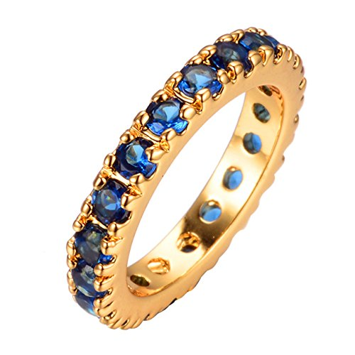 JBL Promise Round Blue Zircon Yellow Gold Filled C stal Band Engagement Women Wedding Ring ()
