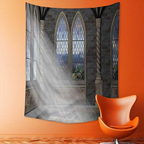 aolankaili Wall Tapestry Rays Streaming Through Stained Glass Window Ancient Palace Castle Grey Cream White Room Dorm Accessories Wall Hanging Tapestry