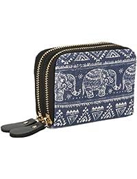 Womens Zipper Card Wallet Purse Holder Women Small Canvas Clutch Bag Coin Pouch Elephant
