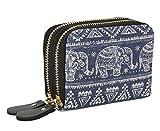 Womens Zipper Card Wallet Purse Holder Women Small Bohemian Elephant Canvas Clutch Bag (Small, Elephant)