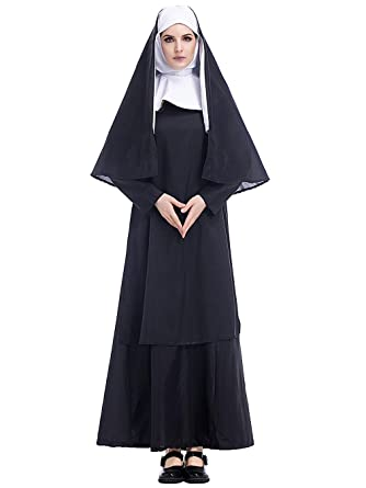 Lecoyeee Disfraz de Monja Adulta para Mujer Traje de Monja Vestido ...