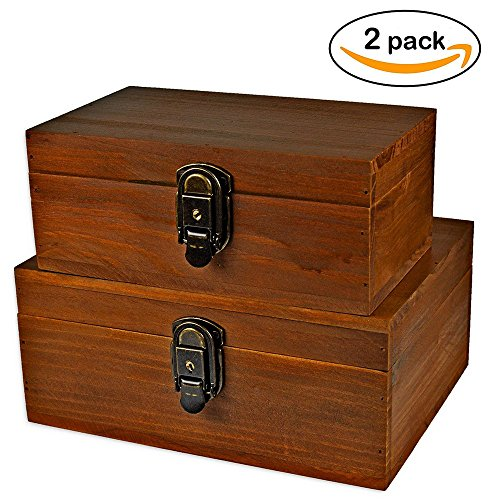 2 Sets Gift Box,Wood Keepsake Box Kit,Icefire Storage Treasure Memory Container,Cabinet Archival Western Rustic with Lock and Key for Card Makeup Tool Pill Candy Photo Hobby Silverware (Retro (Panel Photo Christmas Cards)