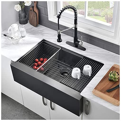 Farmhouse Kitchen 30 Farmhouse Kitchen Sink Black-VASOYO 30 Inch Matte Black Flat Apron Front Kitchen Sink Workstation 16 Gauge Stainless… farmhouse kitchen sinks