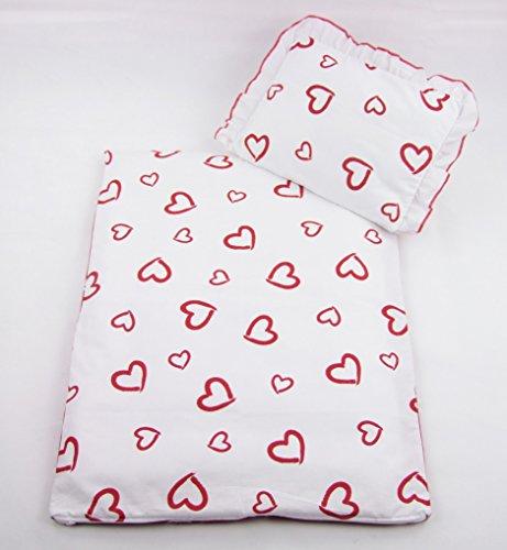 Rawstyle 4 tlg. Set Bezug für Kinderwagen Garnitur Bettwäsche Decke + Kissen + Füllung (weiß mit Roten Herzen)